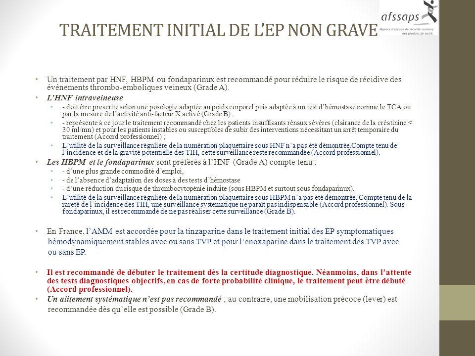 TRAITEMENT INITIAL DE L'EP NON GRAVE