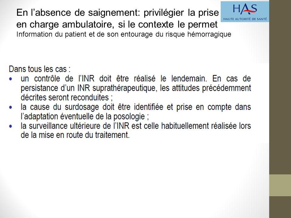 En l'absence de saignement: privilégier la prise en charge ambulatoire, si le contexte le permet Information du patient et de son entourage du risque hémorragique