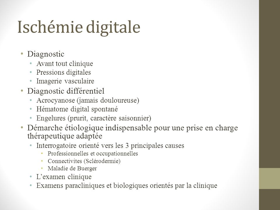 Ischémie digitale Diagnostic Diagnostic différentiel
