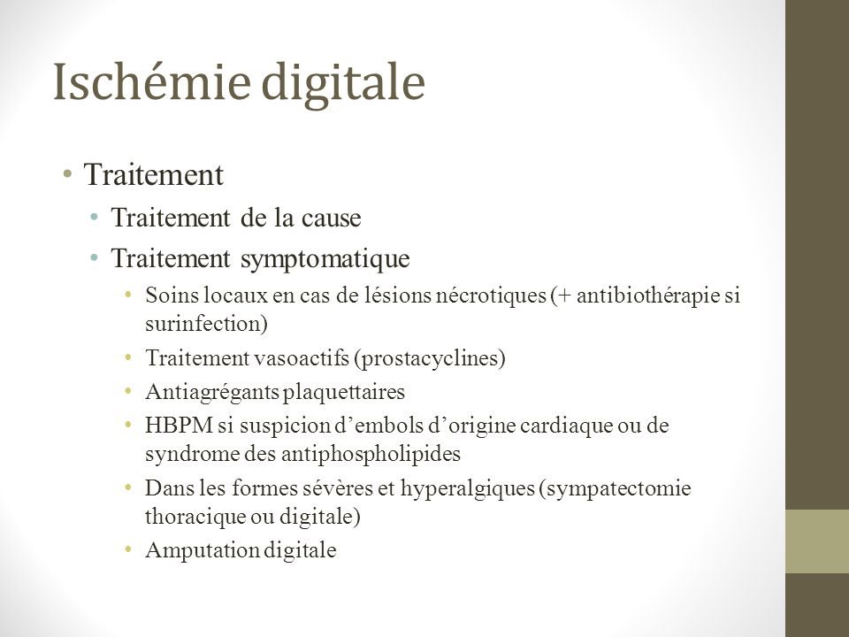 Ischémie digitale Traitement Traitement de la cause