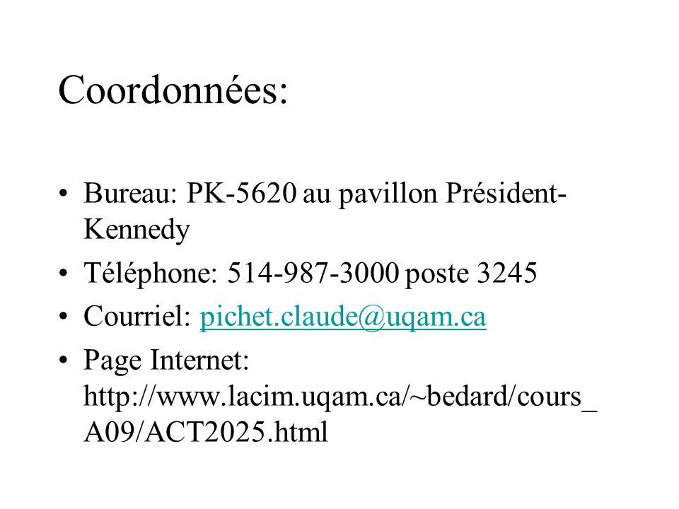 Coordonnées: Bureau: PK-5620 au pavillon Président-Kennedy