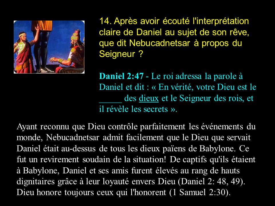 14. Après avoir écouté l interprétation claire de Daniel au sujet de son rêve, que dit Nebucadnetsar à propos du Seigneur