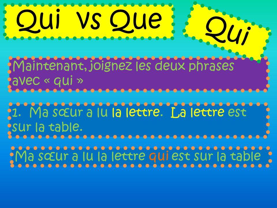 Qui vs Que Qui Maintenant, joignez les deux phrases avec « qui »