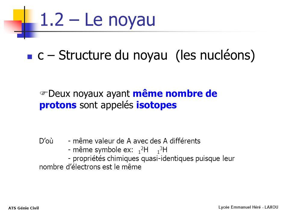 1.2 – Le noyau c – Structure du noyau (les nucléons)