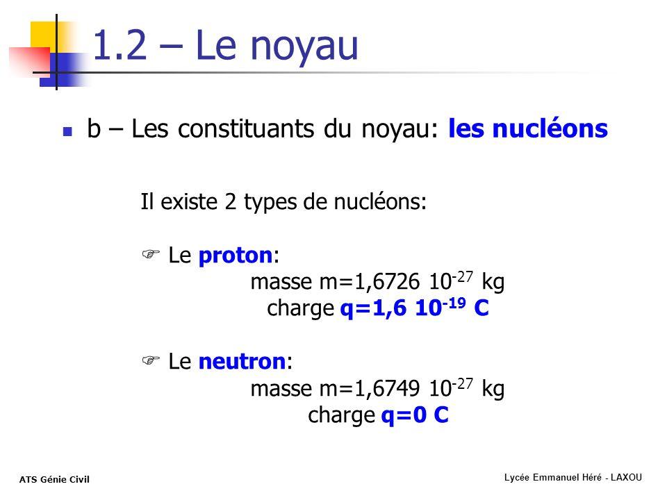 masse m=1,6726 10-27 kg charge q=1,6 10-19 C