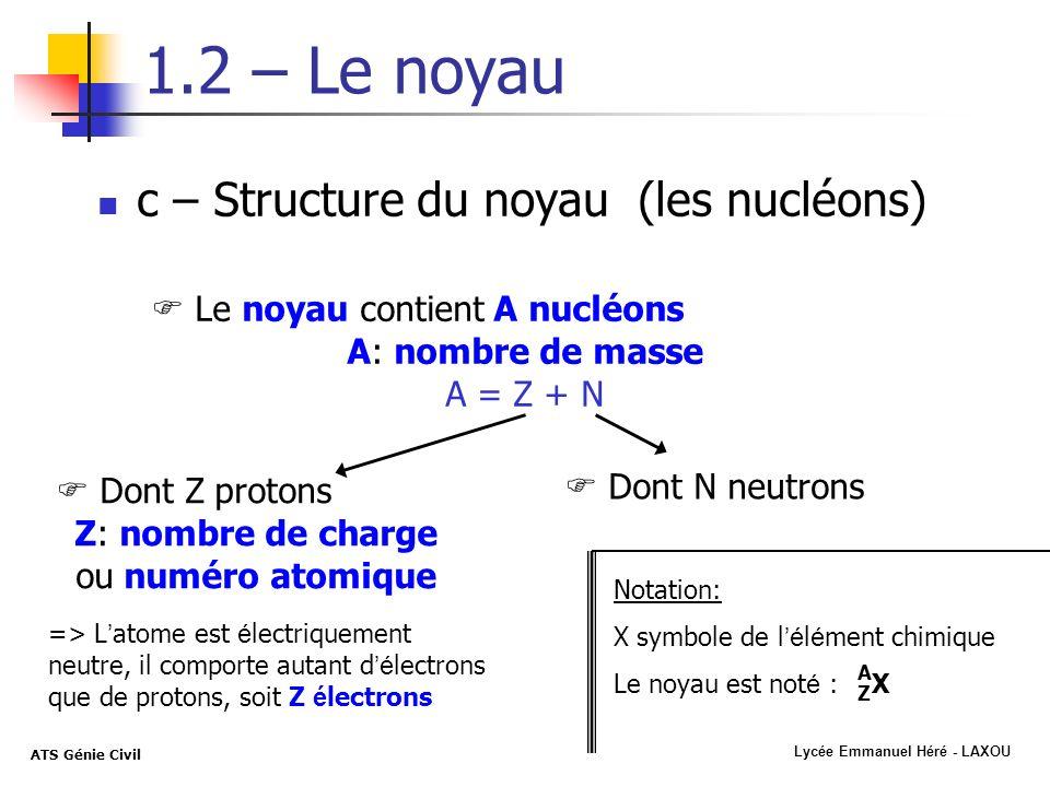 Z: nombre de charge ou numéro atomique