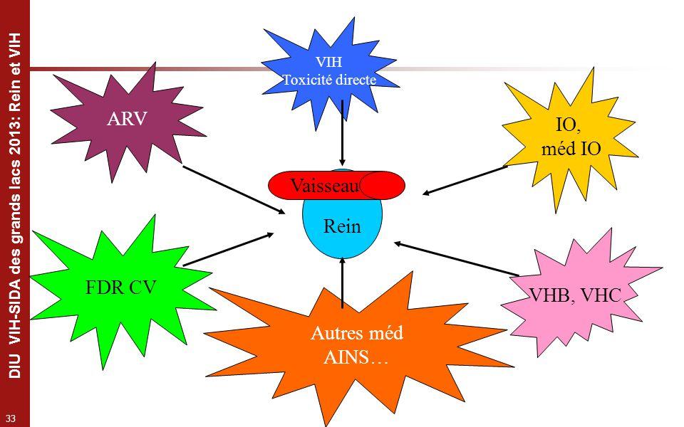 ARV IO, méd IO Vaisseau Rein FDR CV VHB, VHC Autres méd AINS… VIH