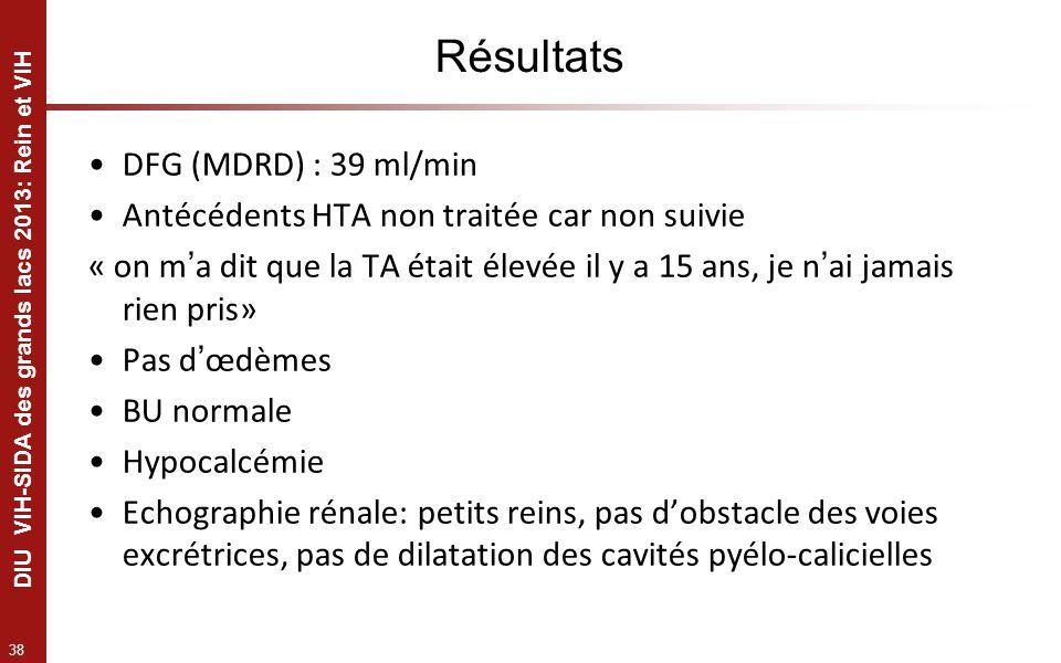 Résultats DFG (MDRD) : 39 ml/min