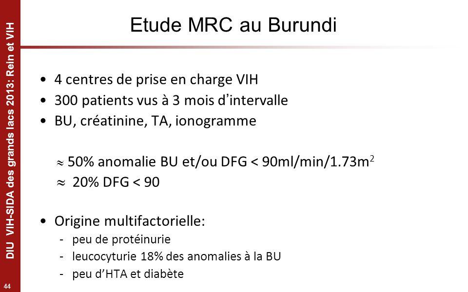 Etude MRC au Burundi 4 centres de prise en charge VIH