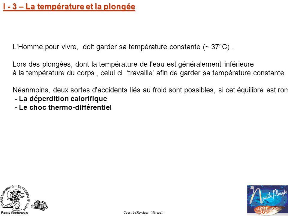 I - 3 – La température et la plongée