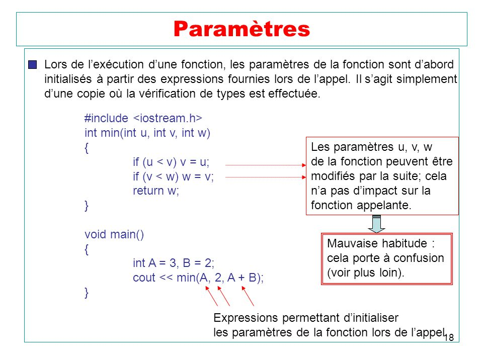Paramètres Lors de l'exécution d'une fonction, les paramètres de la fonction sont d'abord.