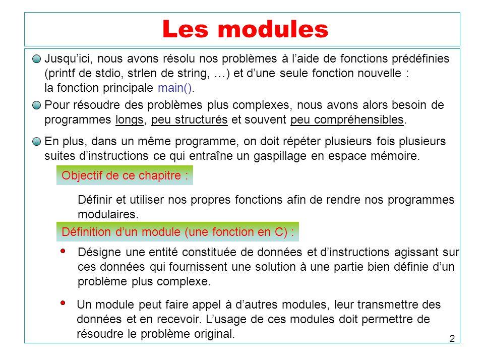 Les modules Jusqu'ici, nous avons résolu nos problèmes à l'aide de fonctions prédéfinies.