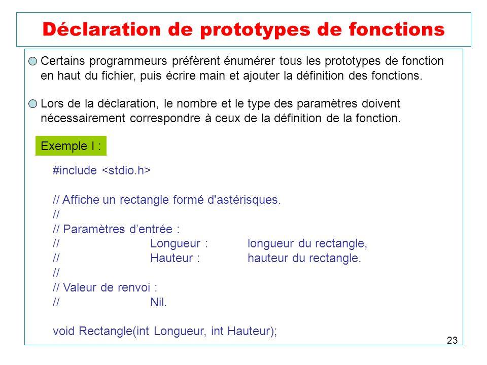 Déclaration de prototypes de fonctions