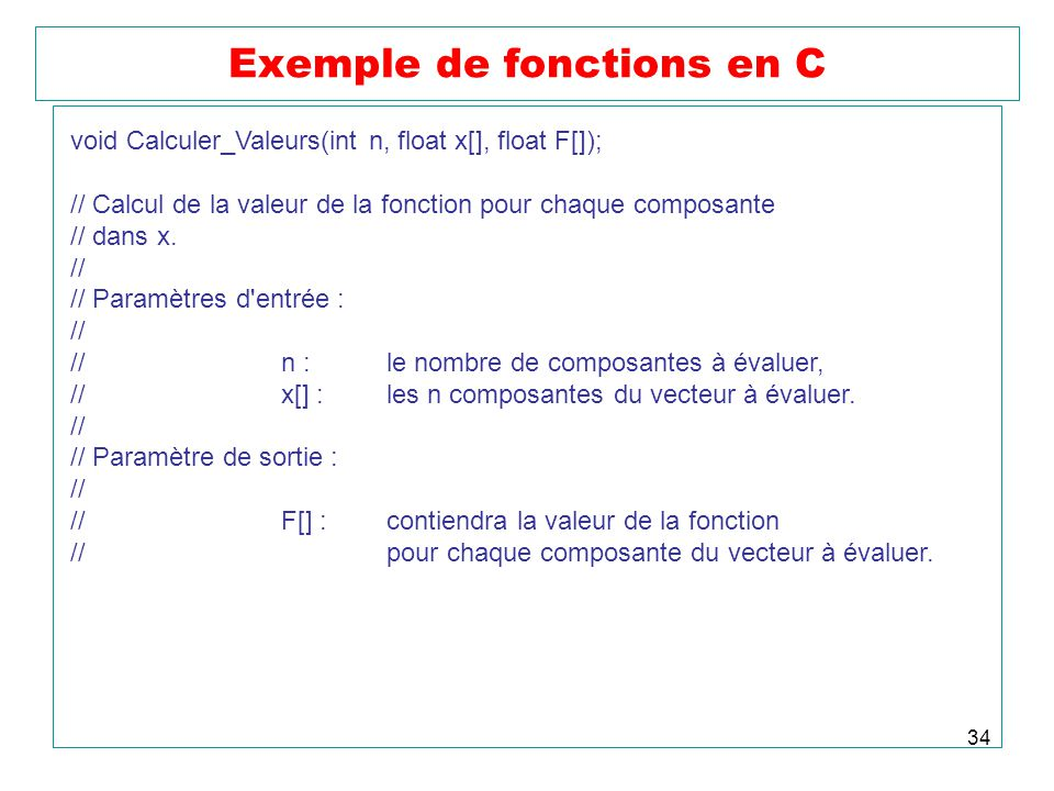 Exemple de fonctions en C