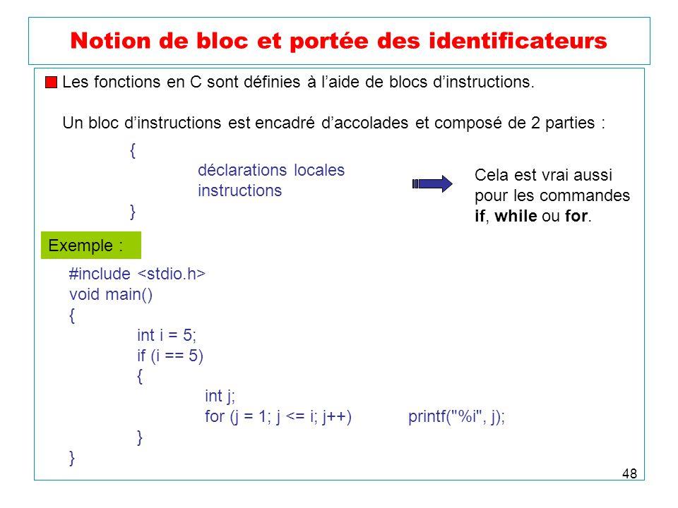 Notion de bloc et portée des identificateurs