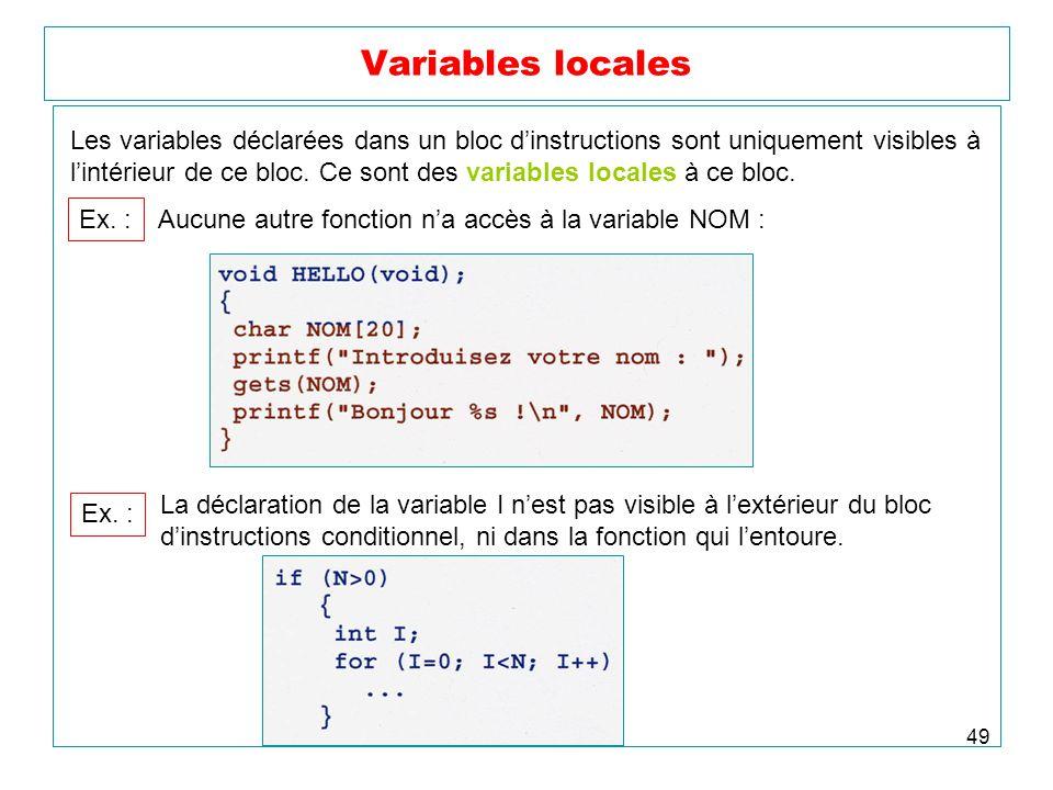 Variables locales Les variables déclarées dans un bloc d'instructions sont uniquement visibles à.