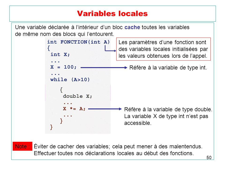 Variables locales Une variable déclarée à l'intérieur d'un bloc cache toutes les variables. de même nom des blocs qui l'entourent.