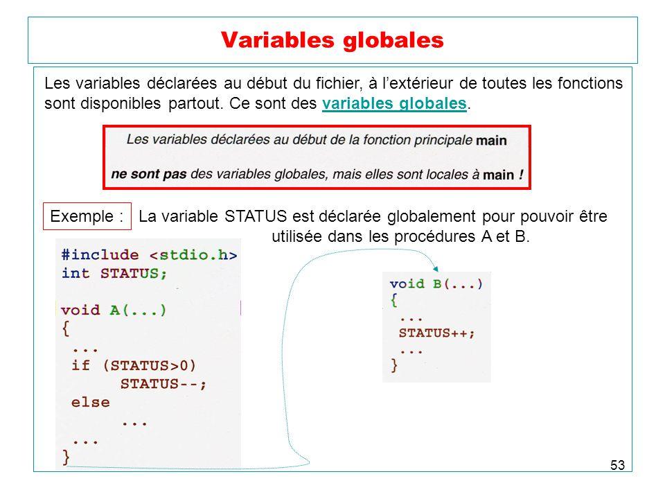 Variables globales Les variables déclarées au début du fichier, à l'extérieur de toutes les fonctions.