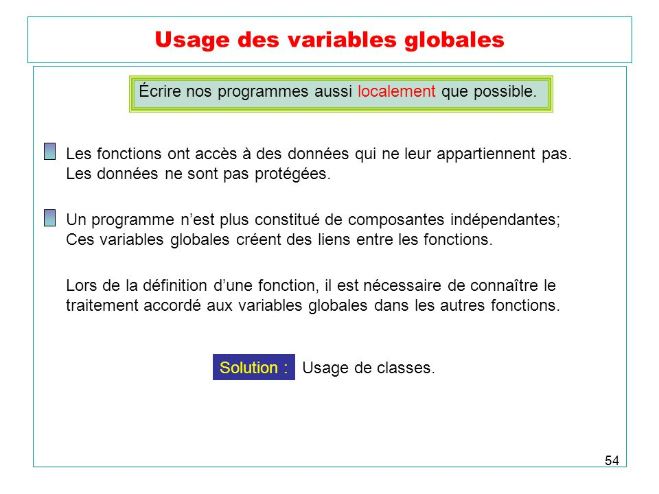 Usage des variables globales