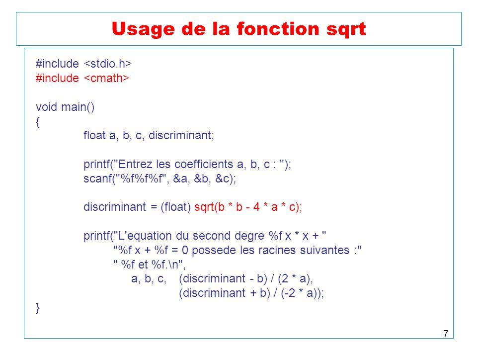 Usage de la fonction sqrt