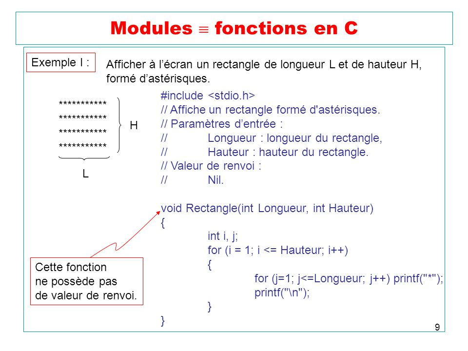 Modules  fonctions en C