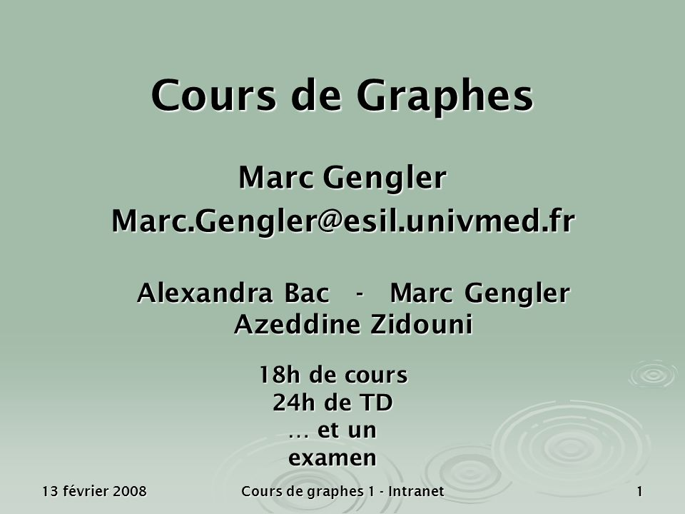 Présentation générale Marc Gengler Marc.Gengler@esil.univmed.fr