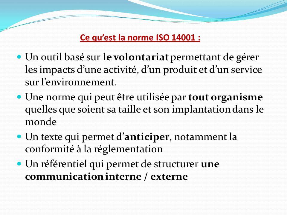 Ce qu'est la norme ISO 14001 :