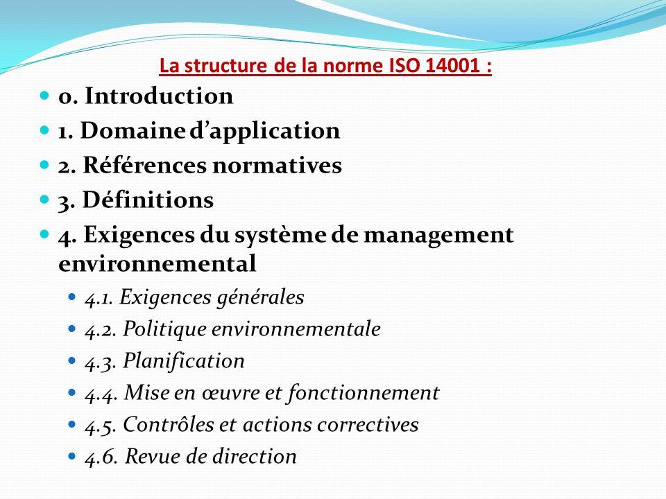 La structure de la norme ISO 14001 :