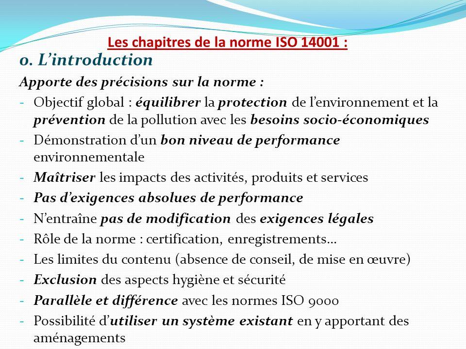Les chapitres de la norme ISO 14001 :
