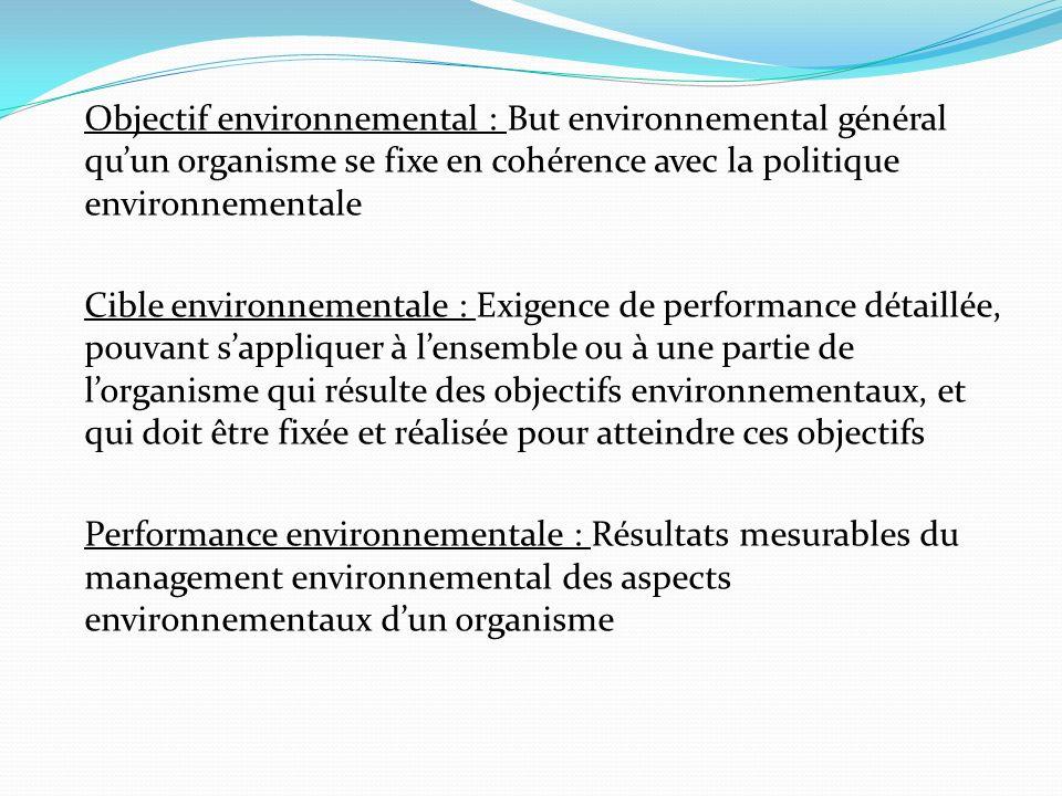 Objectif environnemental : But environnemental général qu'un organisme se fixe en cohérence avec la politique environnementale Cible environnementale : Exigence de performance détaillée, pouvant s'appliquer à l'ensemble ou à une partie de l'organisme qui résulte des objectifs environnementaux, et qui doit être fixée et réalisée pour atteindre ces objectifs Performance environnementale : Résultats mesurables du management environnemental des aspects environnementaux d'un organisme