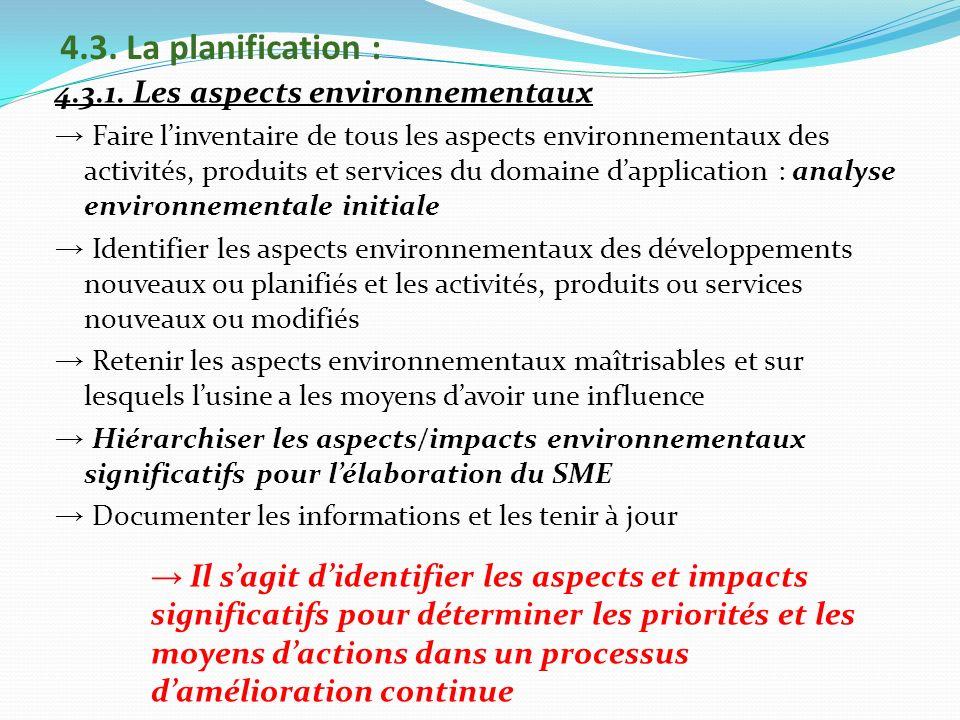 4.3. La planification : 4.3.1. Les aspects environnementaux