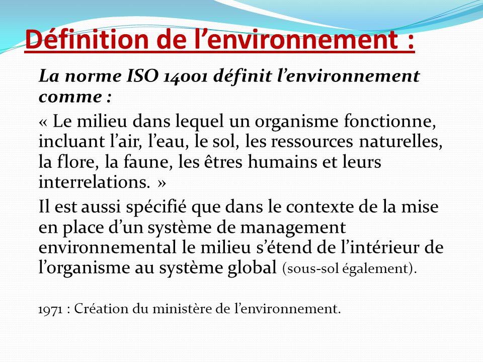 Définition de l'environnement :
