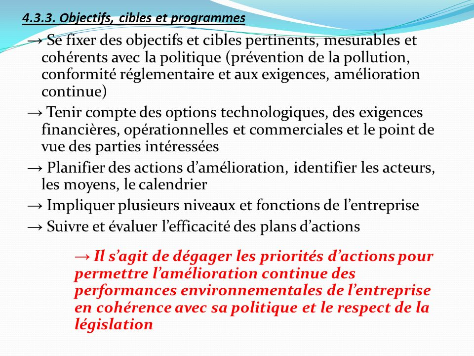 4.3.3. Objectifs, cibles et programmes