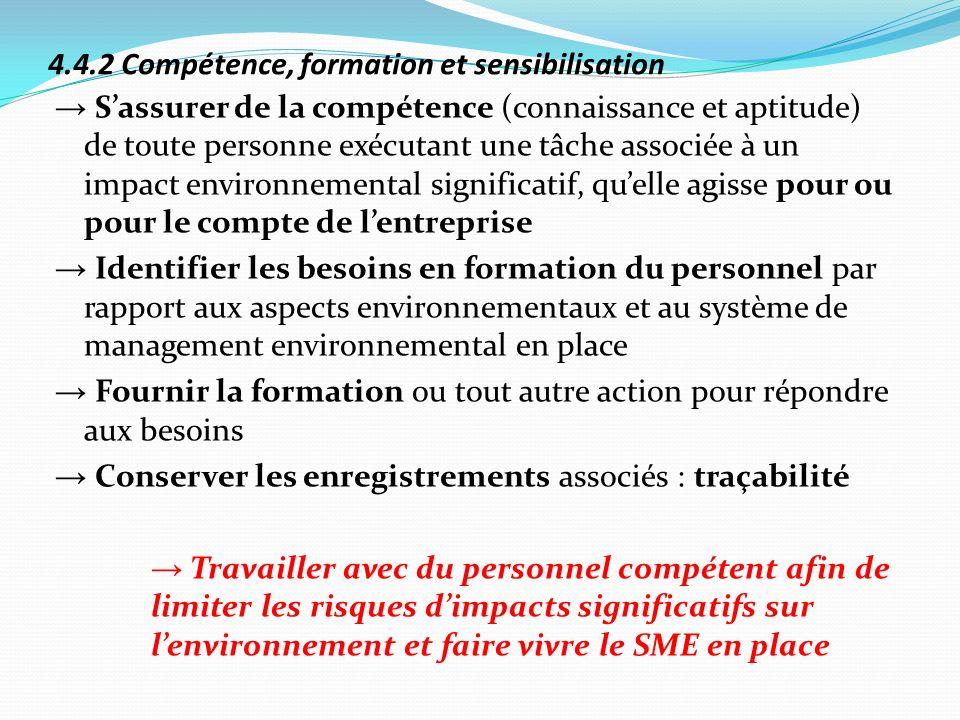 4.4.2 Compétence, formation et sensibilisation