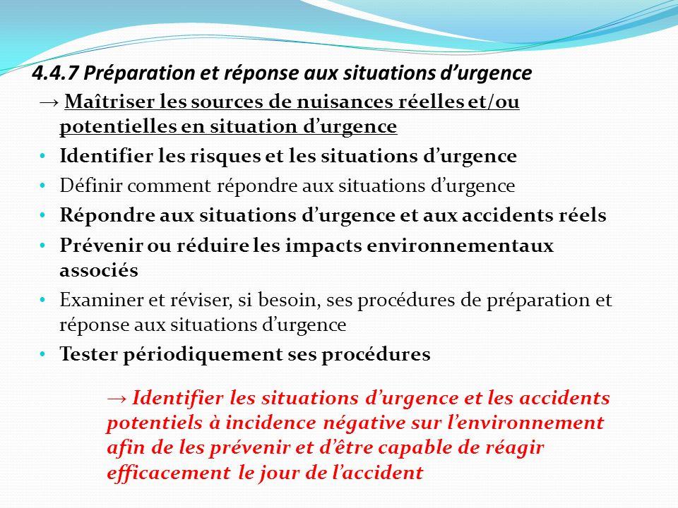 4.4.7 Préparation et réponse aux situations d'urgence