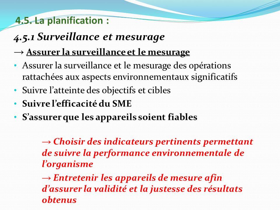 4.5.1 Surveillance et mesurage
