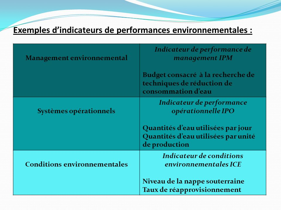 Exemples d'indicateurs de performances environnementales :