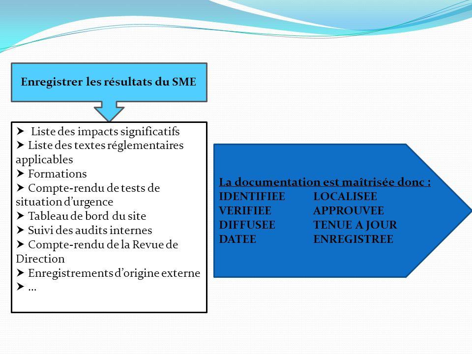 Enregistrer les résultats du SME