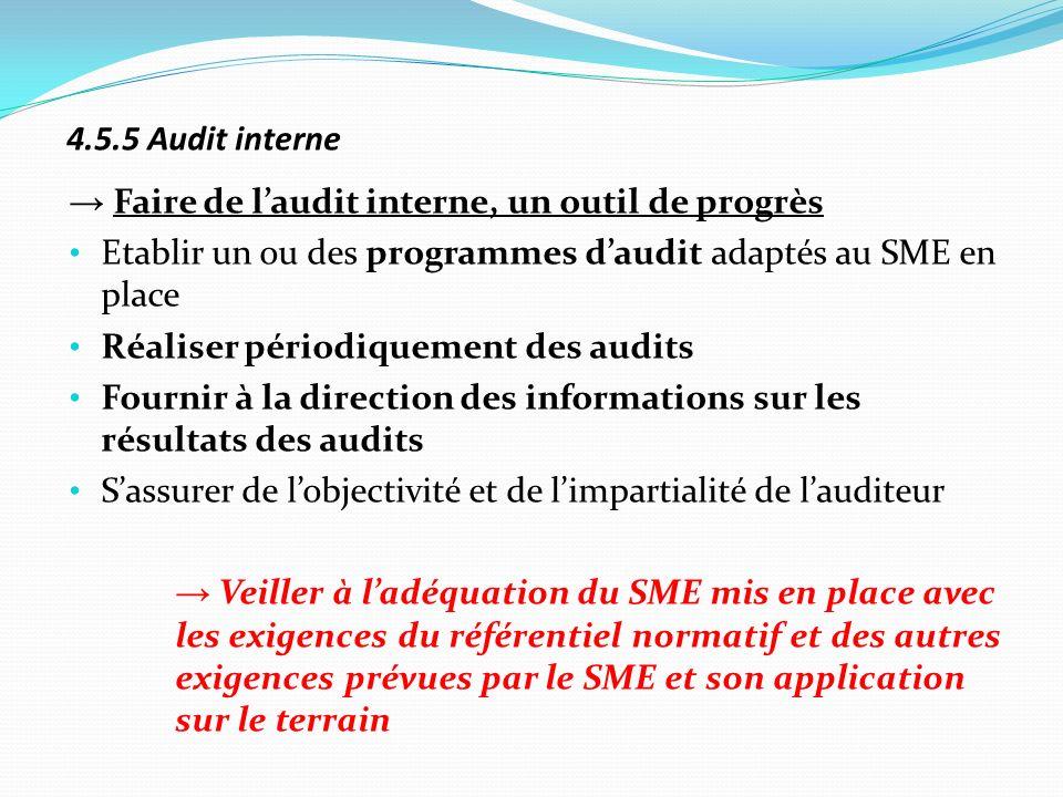 4.5.5 Audit interne→ Faire de l'audit interne, un outil de progrès. Etablir un ou des programmes d'audit adaptés au SME en place.