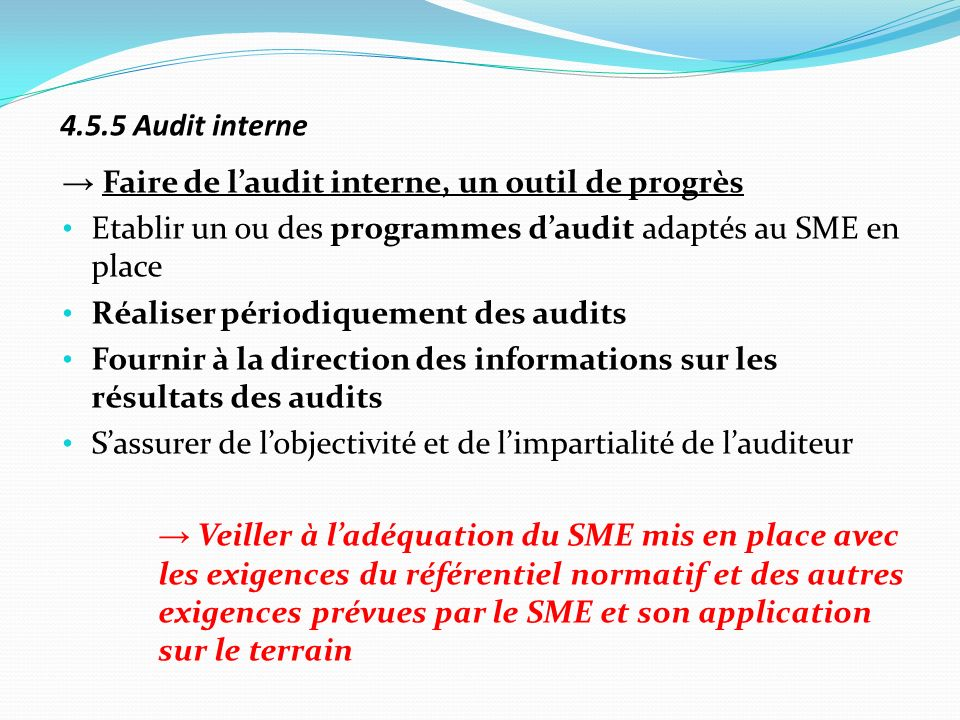 4.5.5 Audit interne → Faire de l'audit interne, un outil de progrès. Etablir un ou des programmes d'audit adaptés au SME en place.