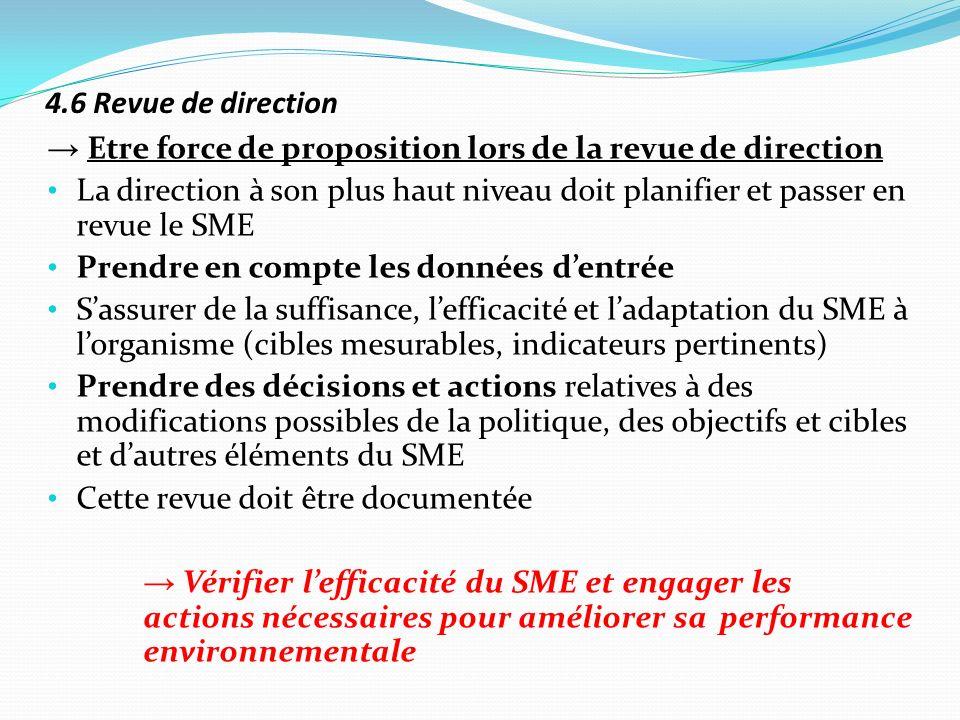 4.6 Revue de direction→ Etre force de proposition lors de la revue de direction.