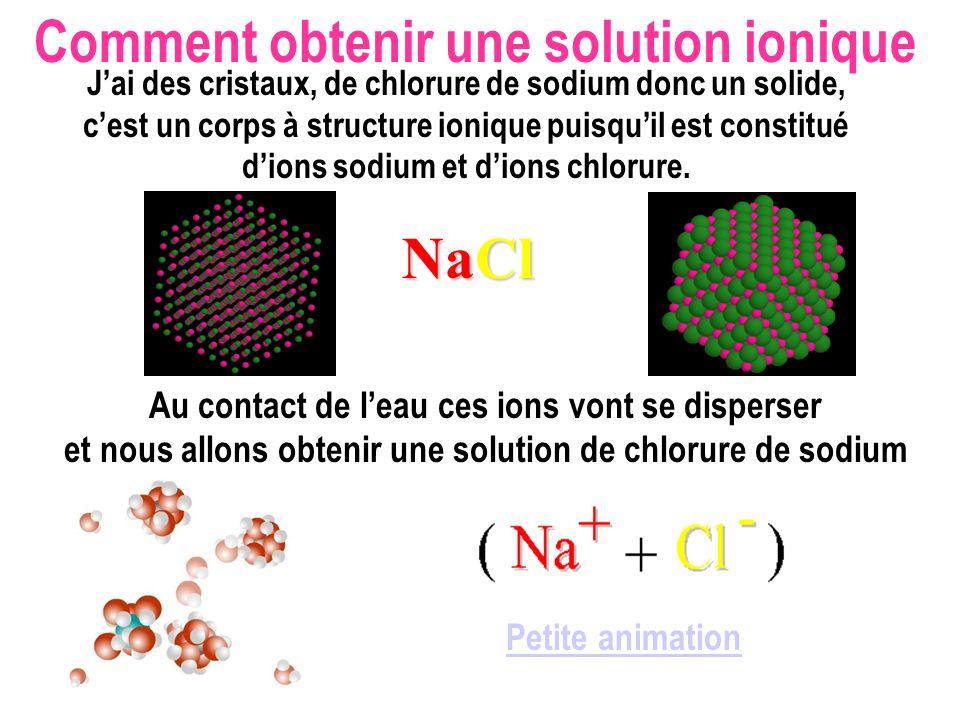 Comment obtenir une solution ionique