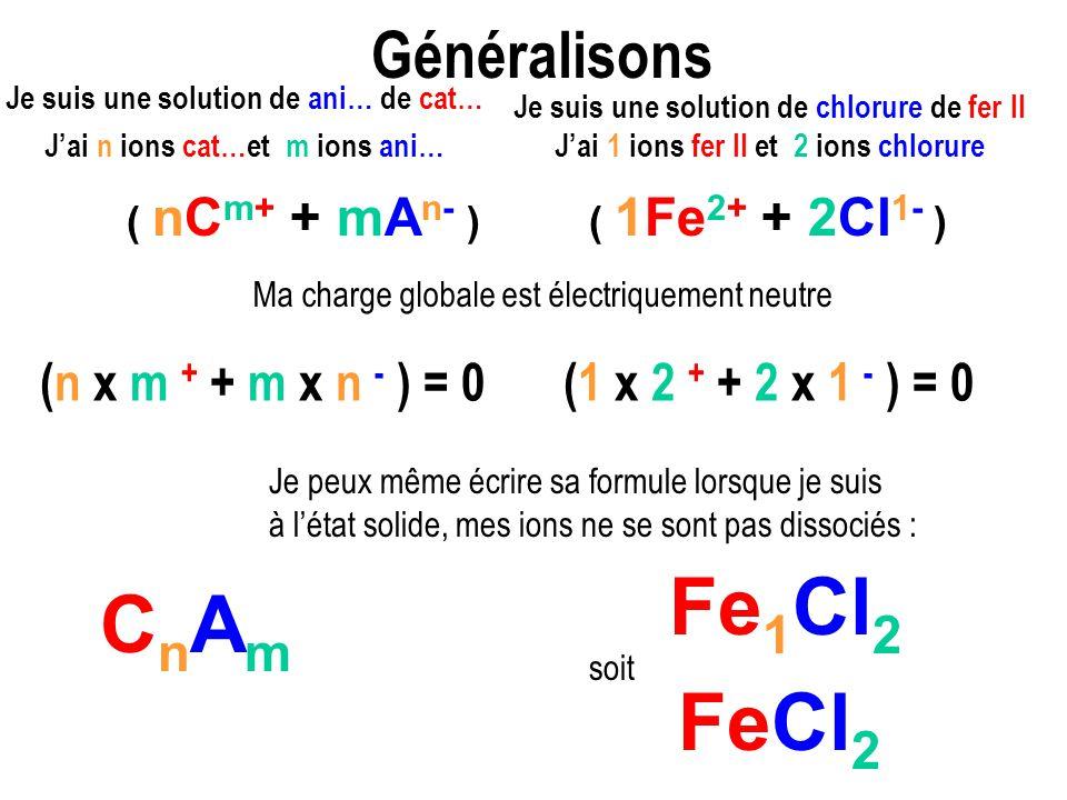 Fe1Cl2 CnAm FeCl2 Généralisons (n x m + + m x n - ) = 0