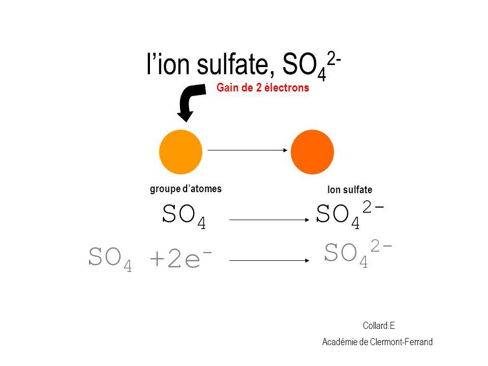 l'ion sulfate, SO42- SO42- +2e- SO42- SO4 Gain de 2 électrons