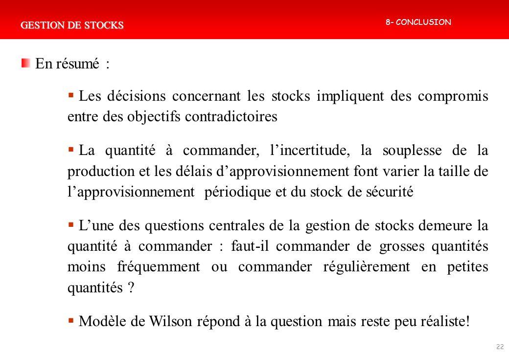 Modèle de Wilson répond à la question mais reste peu réaliste!