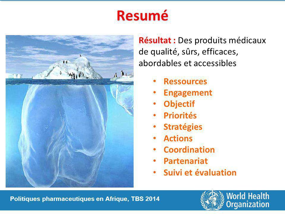 Resumé Résultat : Des produits médicaux de qualité, sûrs, efficaces, abordables et accessibles. Ressources.