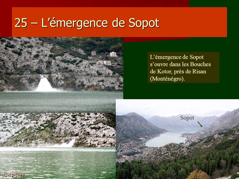 25 – L'émergence de Sopot L'émergence de Sopot s'ouvre dans les Bouches de Kotor, près de Risan (Monténégro).