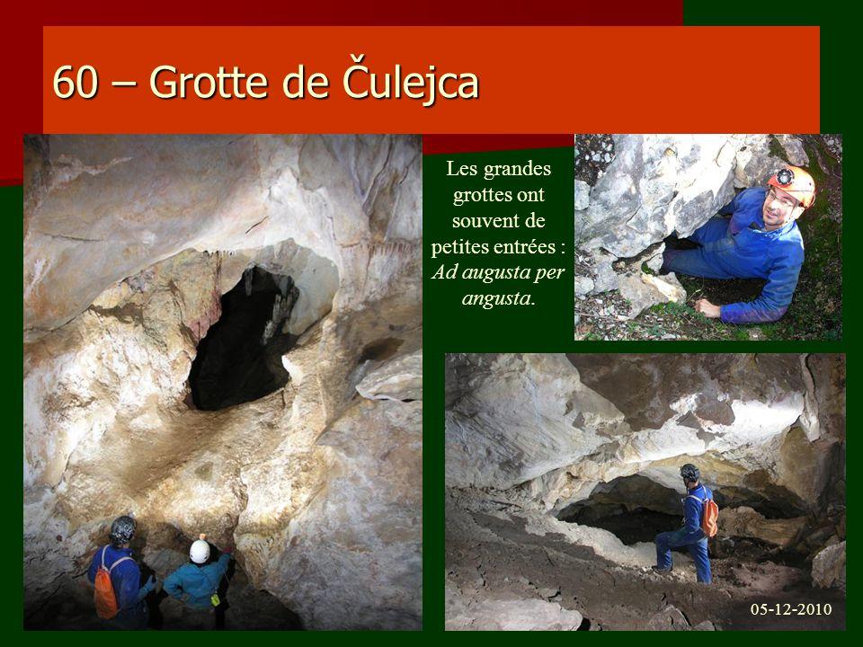60 – Grotte de Čulejca Les grandes grottes ont souvent de petites entrées : Ad augusta per angusta.