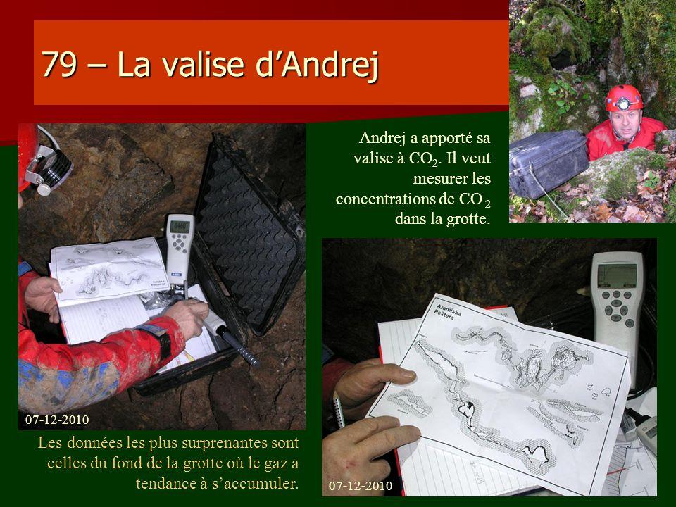 79 – La valise d'Andrej Andrej a apporté sa valise à CO2. Il veut mesurer les concentrations de CO 2 dans la grotte.