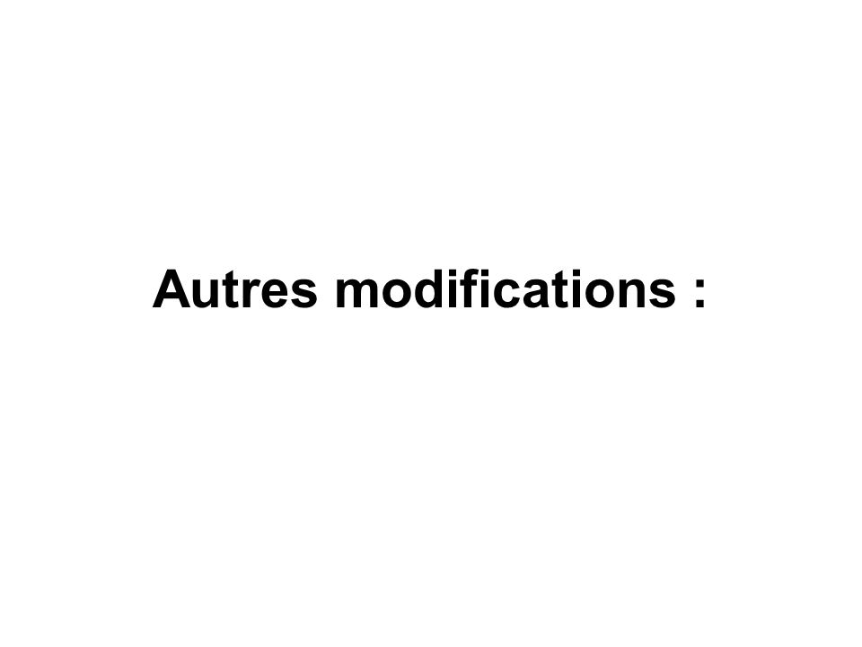 Autres modifications :